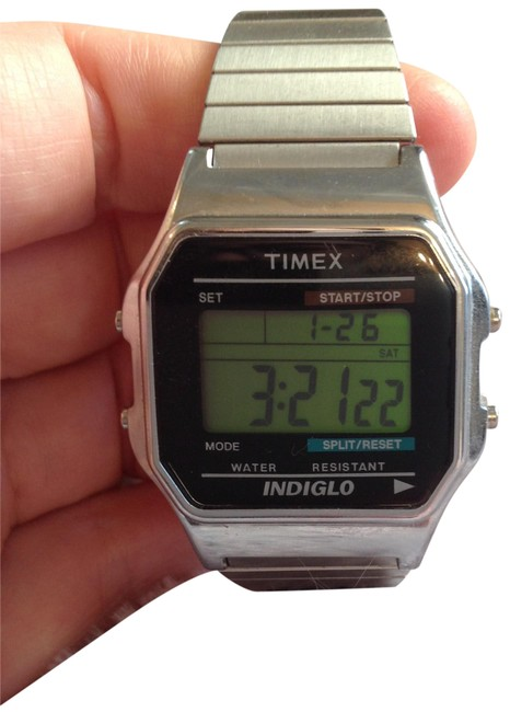 Timex Silver Tone Platinum Digital Expansion Band Watch Timex Silver Tone Platinum Digital Expansion Band Watch Image 1