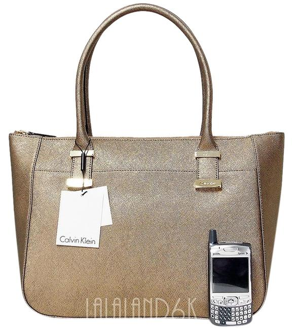 Item - Medium Bronze Metal Saffiano Leather Satchel