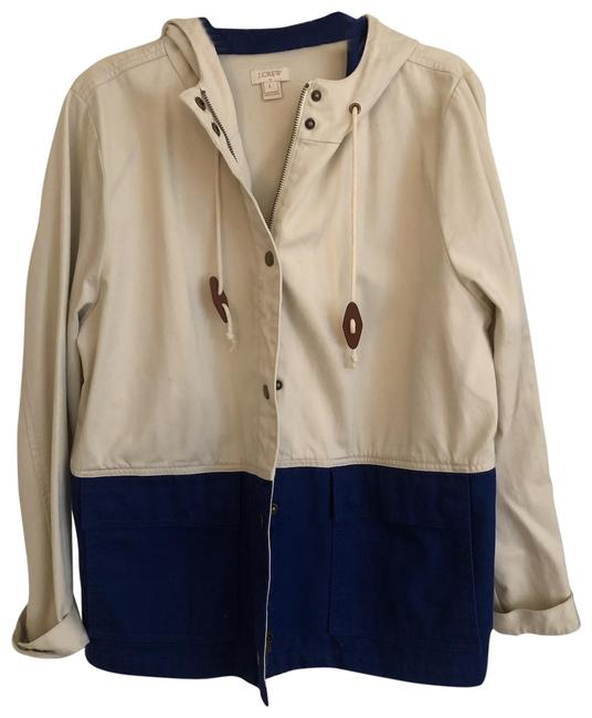Item - Khaki and Blue Canvas with Bottom Detail Jacket Size 12 (L)
