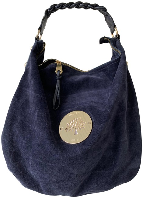 Mulberry Croc Navy Blue Suede Leather Hobo Bag Mulberry Croc Navy Blue Suede Leather Hobo Bag Image 1