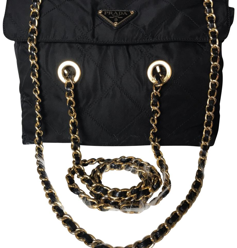 14765630fcbe Prada Sling Gold Chain Black Nylon Shoulder Bag - Tradesy
