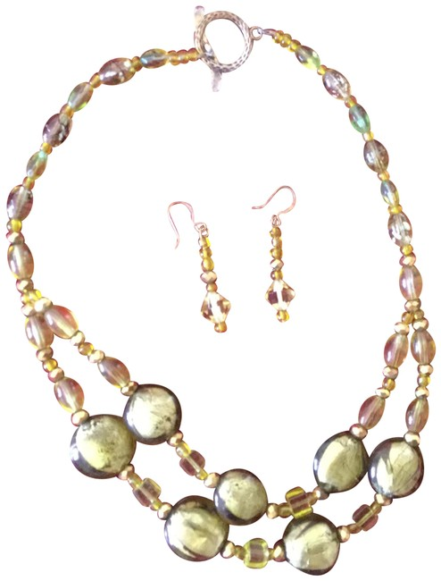 Citron Bead and Earring Set Necklace Citron Bead and Earring Set Necklace Image 1