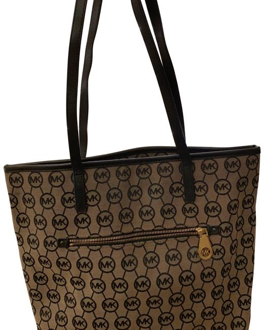 Michael Kors Monogrammed Large Tan and Black Canvas Tote Michael Kors Monogrammed Large Tan and Black Canvas Tote Image 1