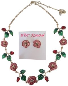 Betsey Johnson Betsey Johnson New Red Rose Garden Necklace and Earrings