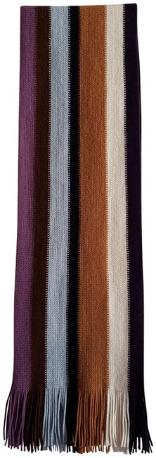 Item - Black Brown Cream Blue Purple Pure Virgin Wool Striped with Fringe Lengthy Shawl Made In Italy Scarf/Wrap