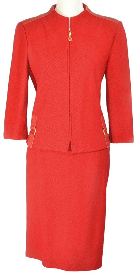 04d1e7aa192f0 St. John St. John Collection 3 4 Sleeve Leather Embellished Skirt Suit ...