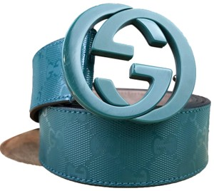 Gucci Gucci Teal Green Monogram GG Web Coated Canvas Belt SZ 100/40 SALE!