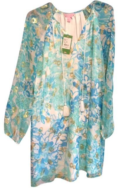 Item - Turquoise White Yellow and Gold Daria Silk Tunic Mid-length Night Out Dress Size 4 (S)