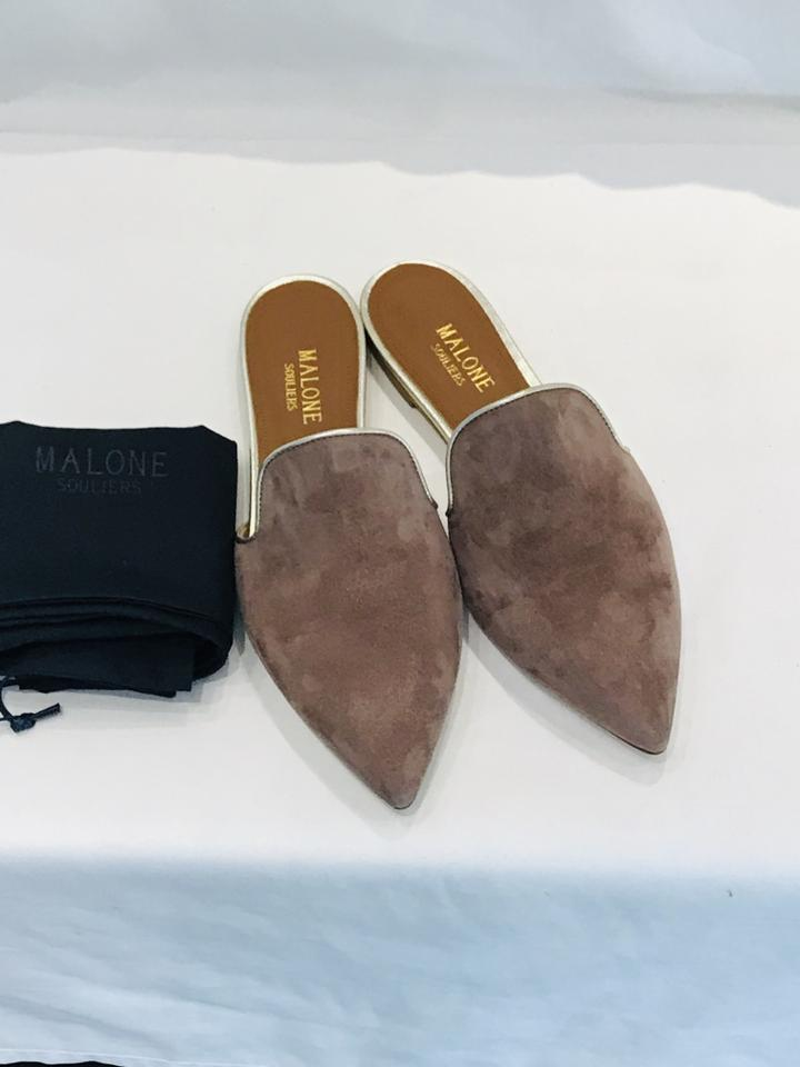 6ef1433204 Malone Souliers Taupe Marianne Suede Slippers Flats Size EU 36.5 (Approx.  US 6.5) Regular (M, B)