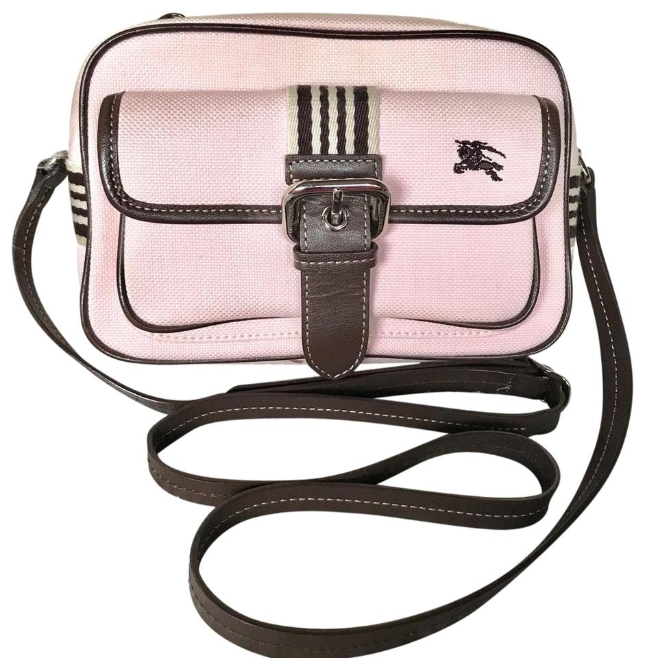 db0061a87f04 Burberry London Blue Label Pink Dark Brown Canvas Leather Cross Body ...