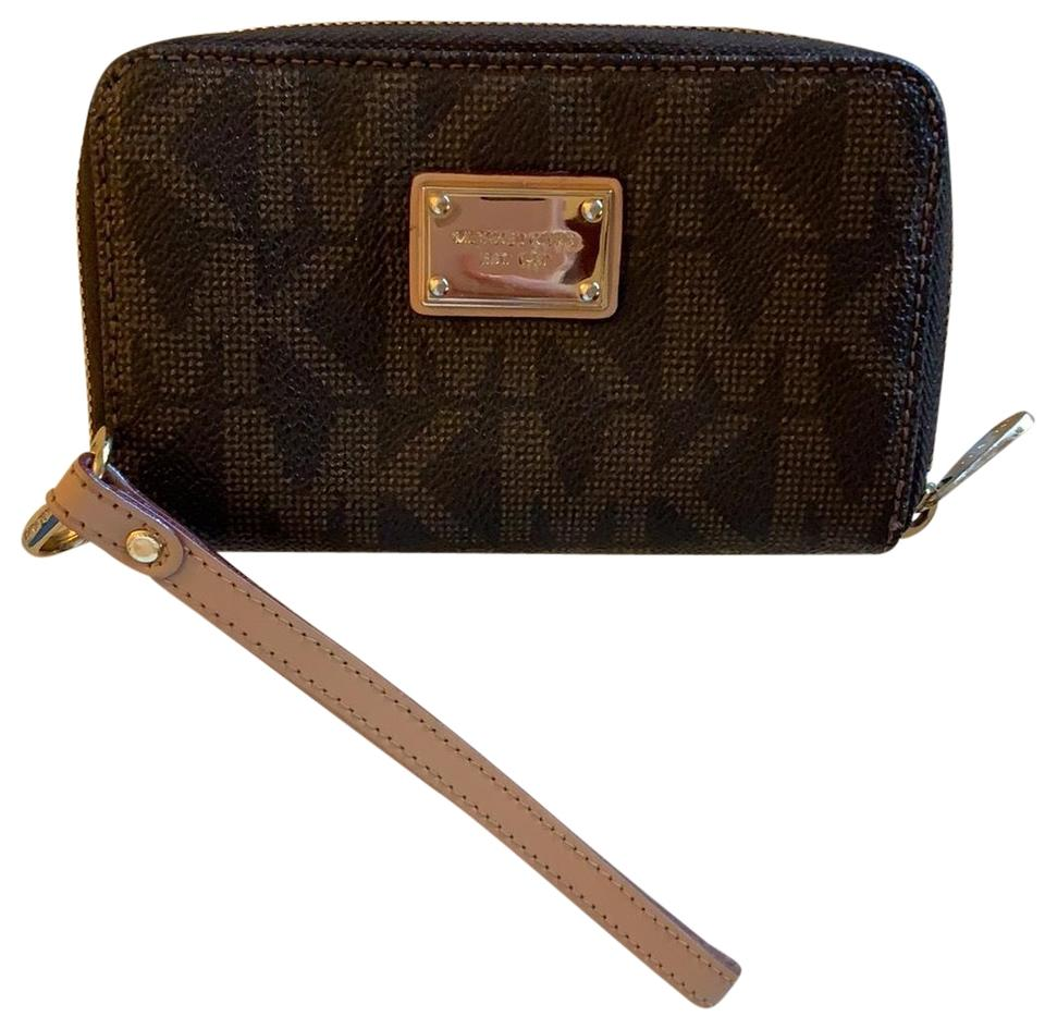 38c9cfdf7ade Michael Kors Mk Monogram Wallet With Brown Leather Wristlet - Tradesy
