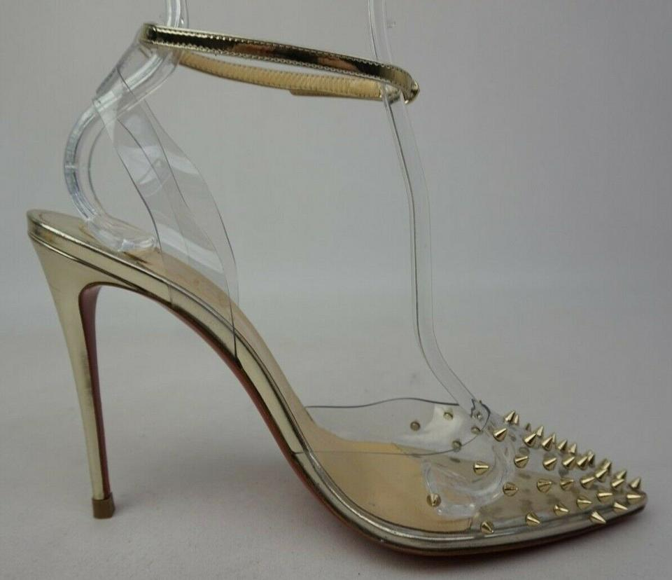 80cd257fc Christian Louboutin Silver Spikoo 100 Transparent Pvc Gold Studded ...