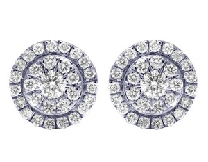 Jewelry Unlimited 14K Yellow Gold Real Diamond Round Halo Cluster Earrings 0.53 CT 8mm