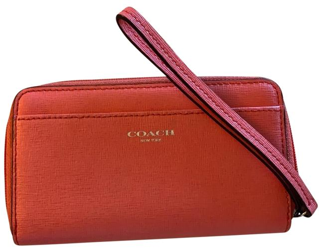 Coach Lovely Salmon Medium Zip Around Wallet Holds Change Credit Card Slots Pink Saffiano Leather Wristlet Coach Lovely Salmon Medium Zip Around Wallet Holds Change Credit Card Slots Pink Saffiano Leather Wristlet Image 1