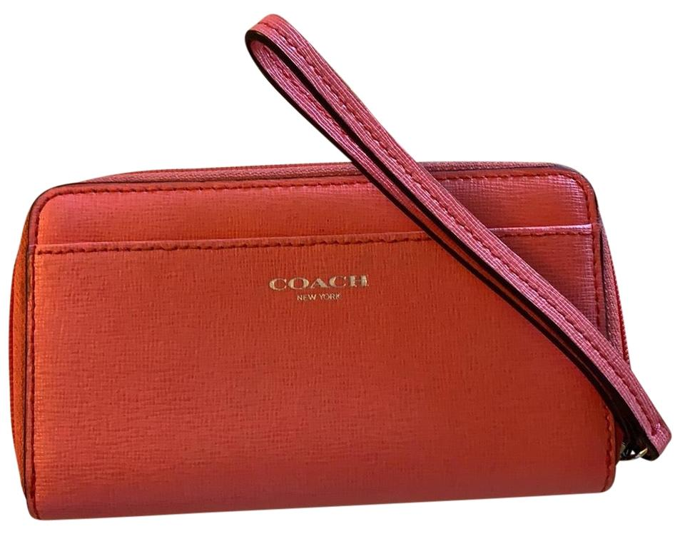 a5c26f3c8f68 Coach Lovely Salmon Medium Zip Around Wallet Holds Change Credit Card Slots  Pink Saffiano Leather Wristlet 77% off retail