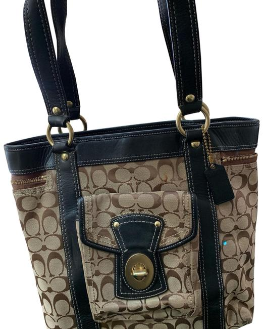 Coach Monogrammed Tan and Black Canvas with Leather Trim Tote Coach Monogrammed Tan and Black Canvas with Leather Trim Tote Image 1