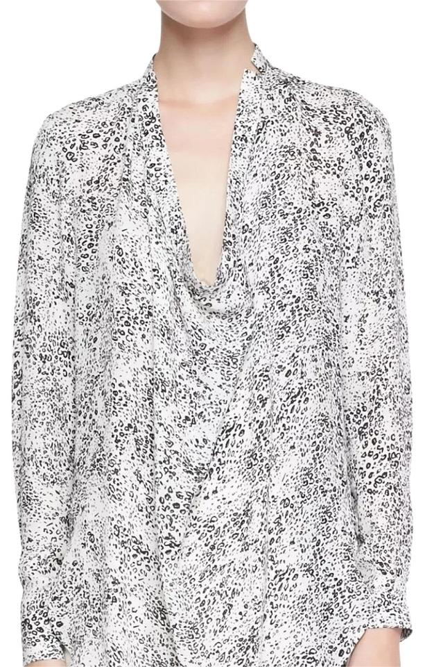 f26debe67e9581 Haute Hippie Ditzy Leopard Return Of The Cowl Silk Large Black White ...
