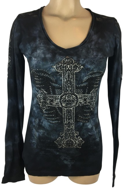 Preload https://img-static.tradesy.com/item/24756163/rock-and-roll-cowgirl-black-and-blue-embellished-long-sleeve-tee-shirt-size-6-s-0-1-650-650.jpg