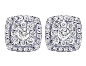 Jewelry Unlimited 14K White Gold Real Diamond Square Halo Cluster Earrings 10mm 1.10 CT