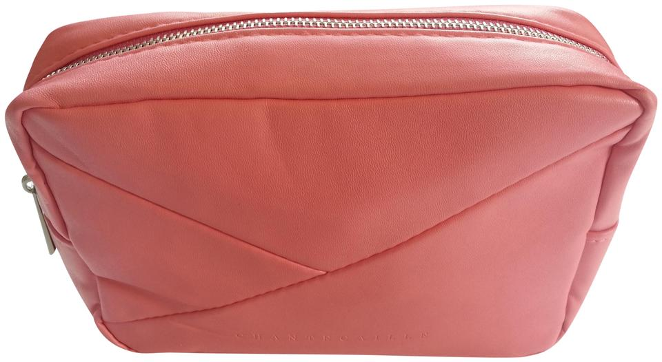 f6b823683080 Chantecaille Pink Faux Leather Cosmetics Makeup Bag Case Image 0