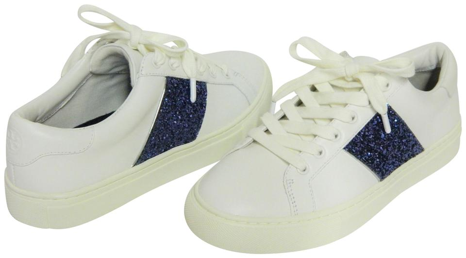 f0cd7e150 Tory Burch White Carter Glitter Lace-up Sneaker Flats Size US 6.5 ...