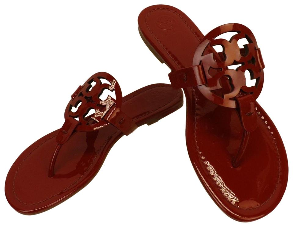 d49c8e1bc12e Tory Burch Red Miller Dark Redstone Patent Leather Reva Thong Sandals Flats
