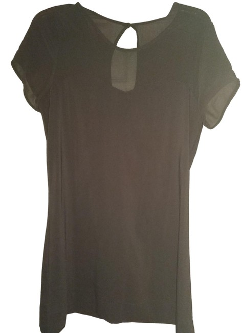 Item - Dark Grey M with Sheer Panel Blouse Size 10 (M)