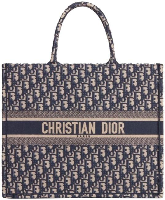 Dior Embroidered Book Blue Shopper Navy Canvas Tote Dior Embroidered Book Blue Shopper Navy Canvas Tote Image 1