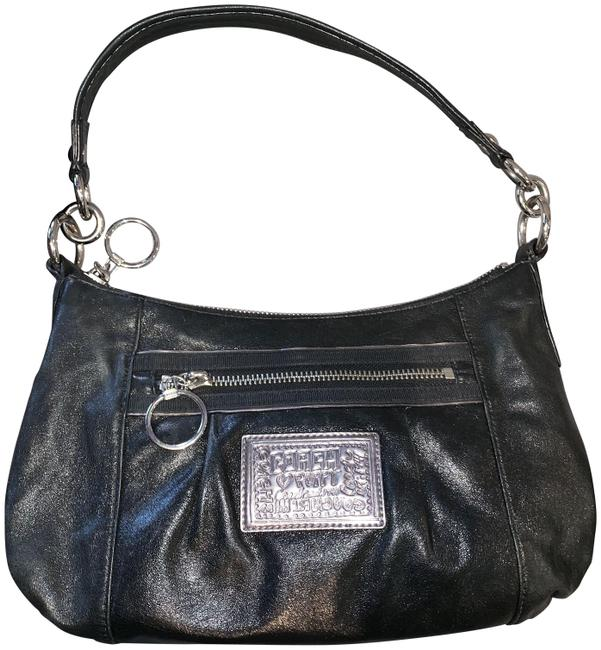 Coach Shoulder Poppy Groovy F1068-15287 Black Leather Cross Body Bag Coach Shoulder Poppy Groovy F1068-15287 Black Leather Cross Body Bag Image 1