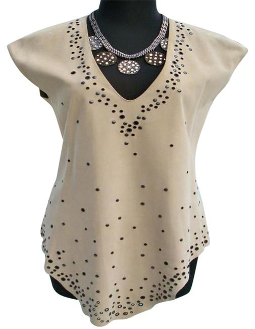 Item - Tan Beige XS Suede Leather Embellished Neck Xs/S Tunic Size 4 (S)