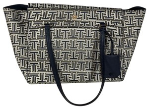 Tory Burch Parker Geo-t Small Tote in Navy White