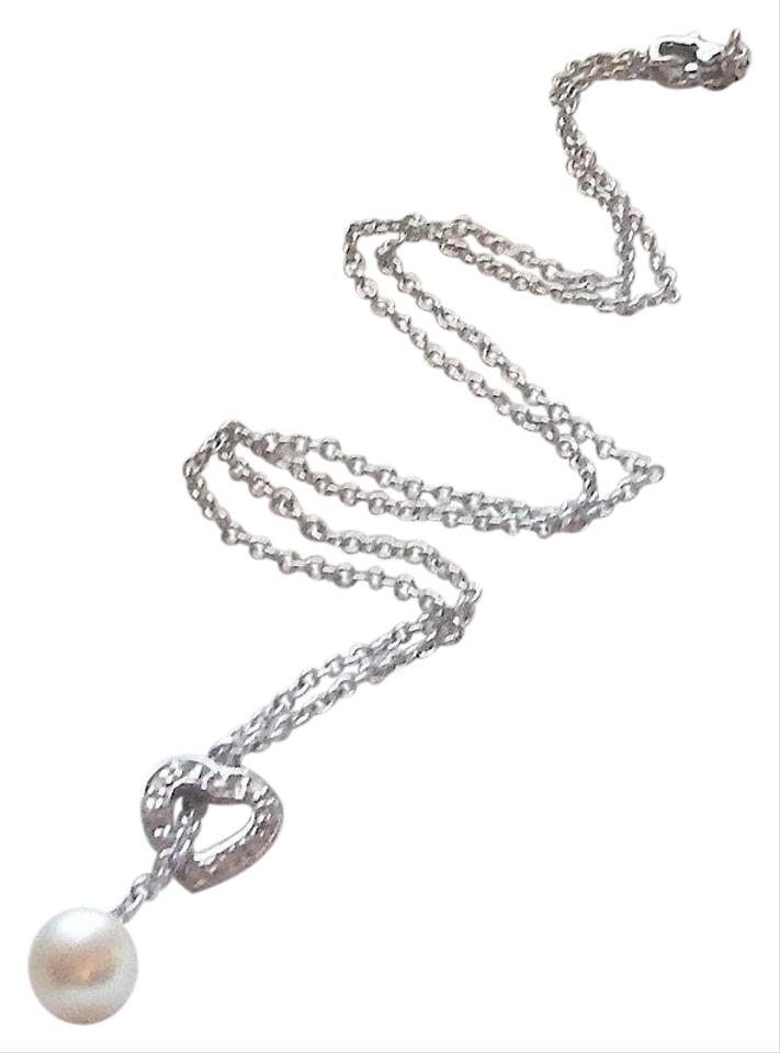 46f1e403ecd52 Silver/White Sterling Pearl Cz Open Heart Lariat Look 16 Inch Necklace 56%  off retail