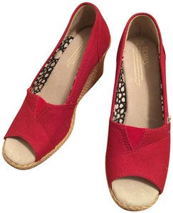 TOMS Canvas Peep Toe Red Wedges