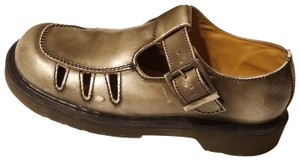 Dr. Martens England Mary Jane Pewter Gold Silver Mules