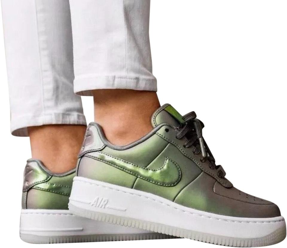Nike Green Women's Air Force 1 Upstep Premium Lx Iridescent Leather Upper  For A Stand Out Look  Foam Sole With Sneakers Size US 8 Narrow (Aa, N) 40%