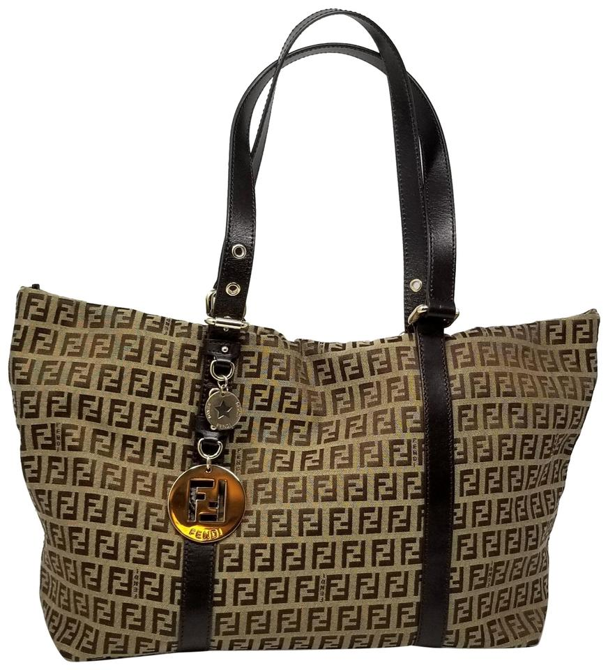 5bc9faccf2 Fendi Zucca Open Charm Logo Monogram Brown Coated Canvas Shoulder ...