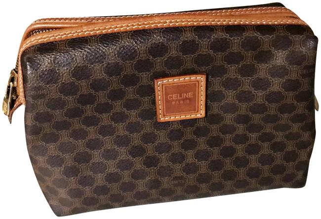 Item - Macadam Brown and Tan Clutch Vintage / / Pouch Cosmetic Bag