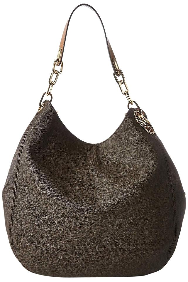 a84e73e158 Michael Kors Fulton Large Mk Logo Signature Tote Brown Pvc Leather Shoulder  Bag