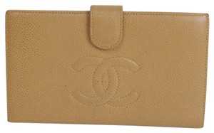 Chanel Authentic Chanel CC Logo Long Bifold Caviar skinleather wallet