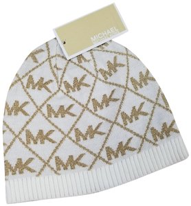 Michael Kors diamond cream metallic gold logo beanie