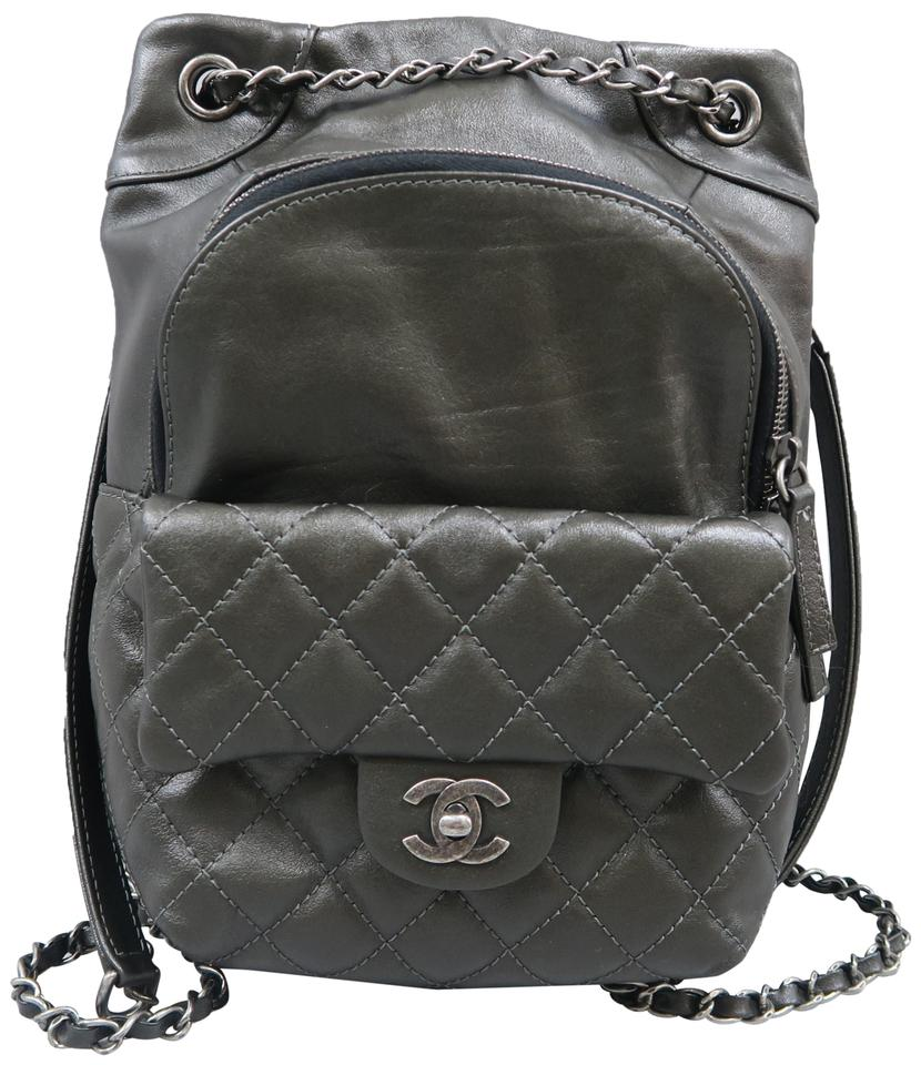 Chanel Drawstring Backpack Quilted Darkseagreen Calfskin Shoulder ... 21412a705f3b