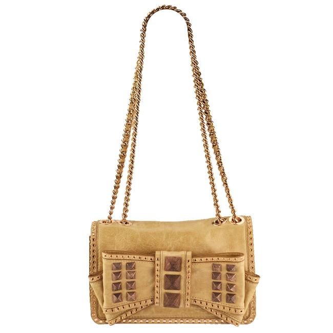Item - Sweetie Bow Studded Pyramid Gold Leather Shoulder Bag