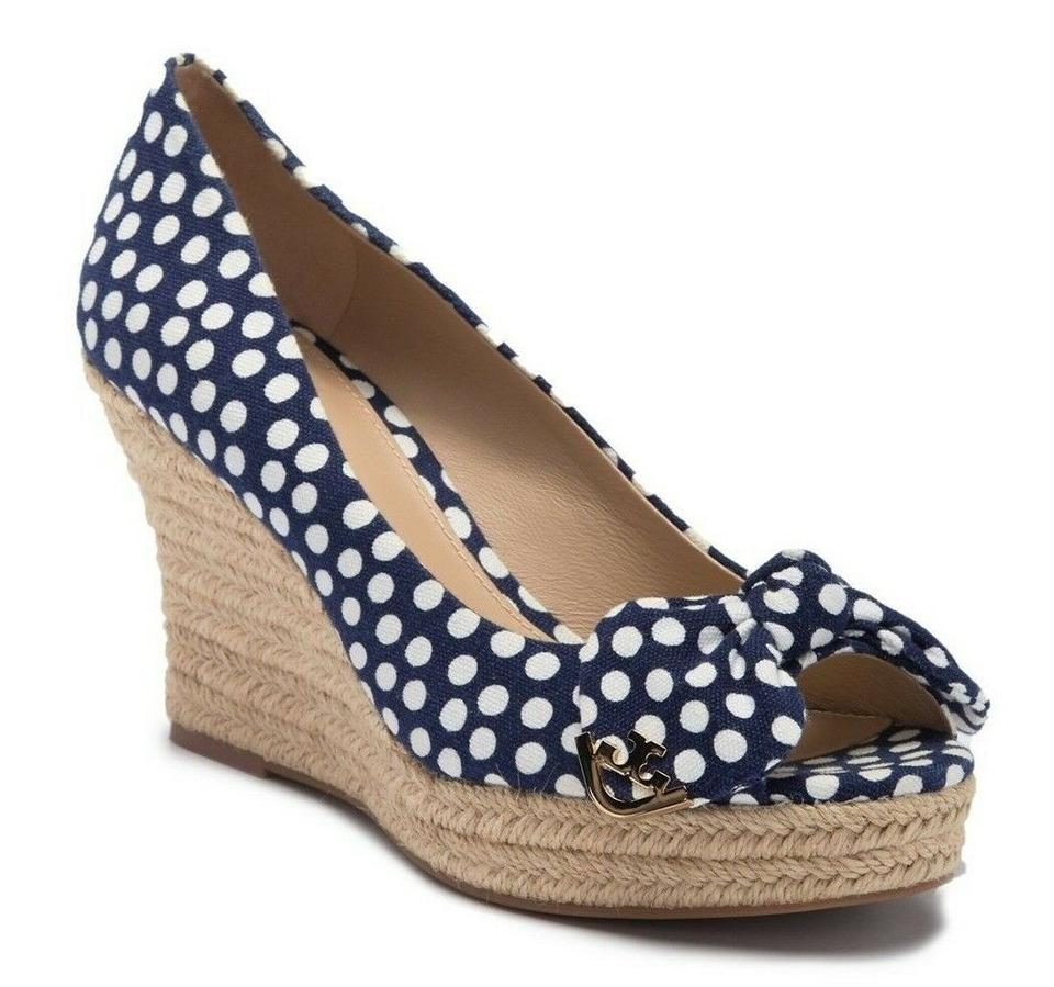 bd3de44ba30295 Tory Burch Summer Nautical Wedges Espadrilles Navy blue white polka dot  Sandals Image 0 ...