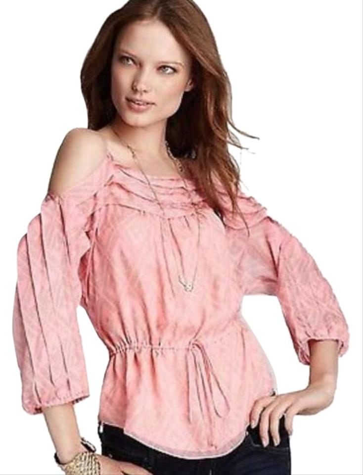 32cd7122013c44 Rebecca Taylor Pink Off The Shoulder Silk Peplum Blouse Size 2 (XS ...