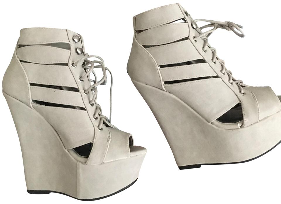 1473a5e8c396 Dollhouse Gray Knockout Lace Up Wedge Sandals Boots Booties Size US ...
