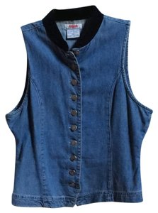 At Last & Co. Jeanswear Vintage Vest Top Denim with black velour collar