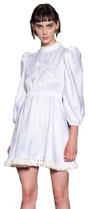 White Maxi Dress by Francesco Scognamiglio Haute Couture Embroidered Fringe Hem Date Night Night Out