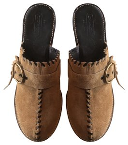 Coach Made In Italy Suede Buckle Fringe Tan Mules