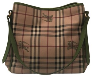 00945eadc196 Burberry Tote in black tan white red checked pattern with green leather  straps