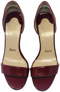 Christian Louboutin Patent Leather Kitten Heel Red Sandals